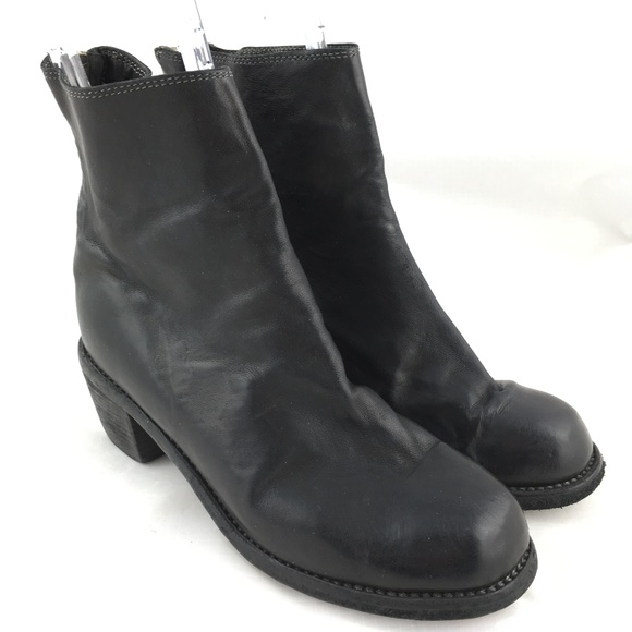 Guidi ankle booties boots back zip heeled black